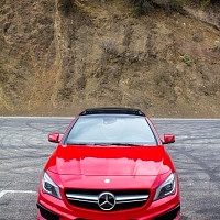 Red 2014 Mercedes CLA AMG Mulholland Highway Front