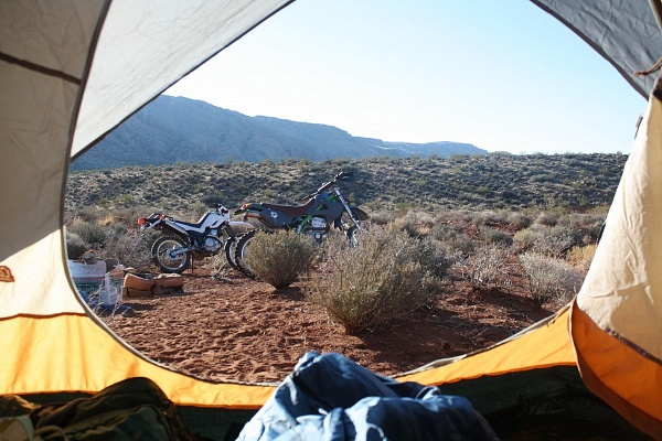Overland Motorcycling Southern Utah Tent