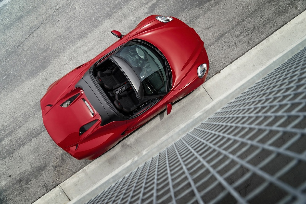 red 2016 alfa romeo 4c spider top above
