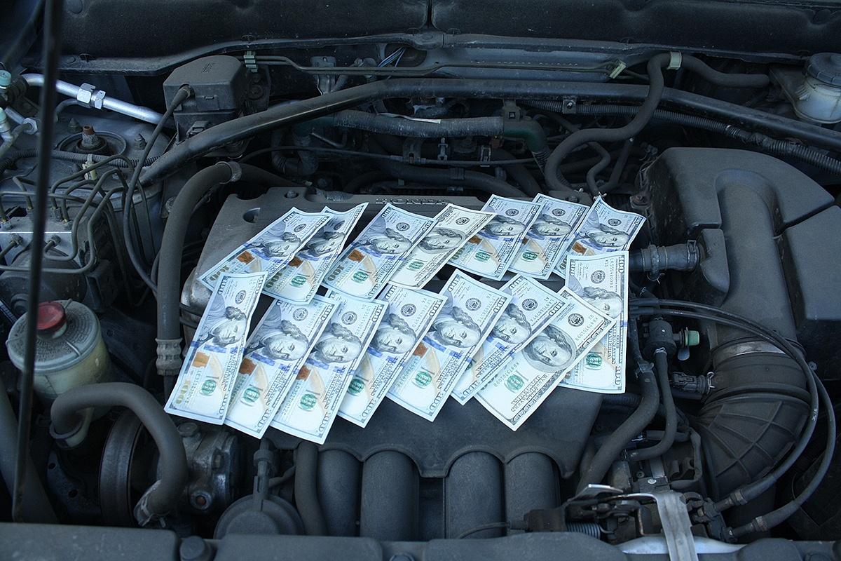 money on car engine