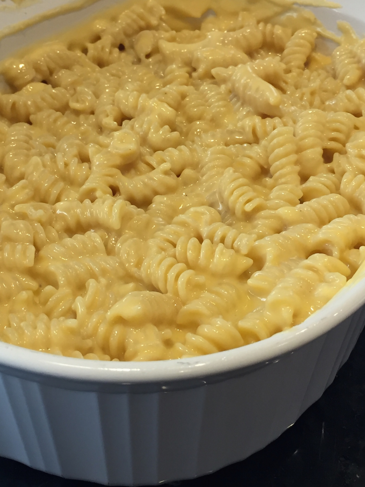 Homemade mac and cheese dish spirals rotini