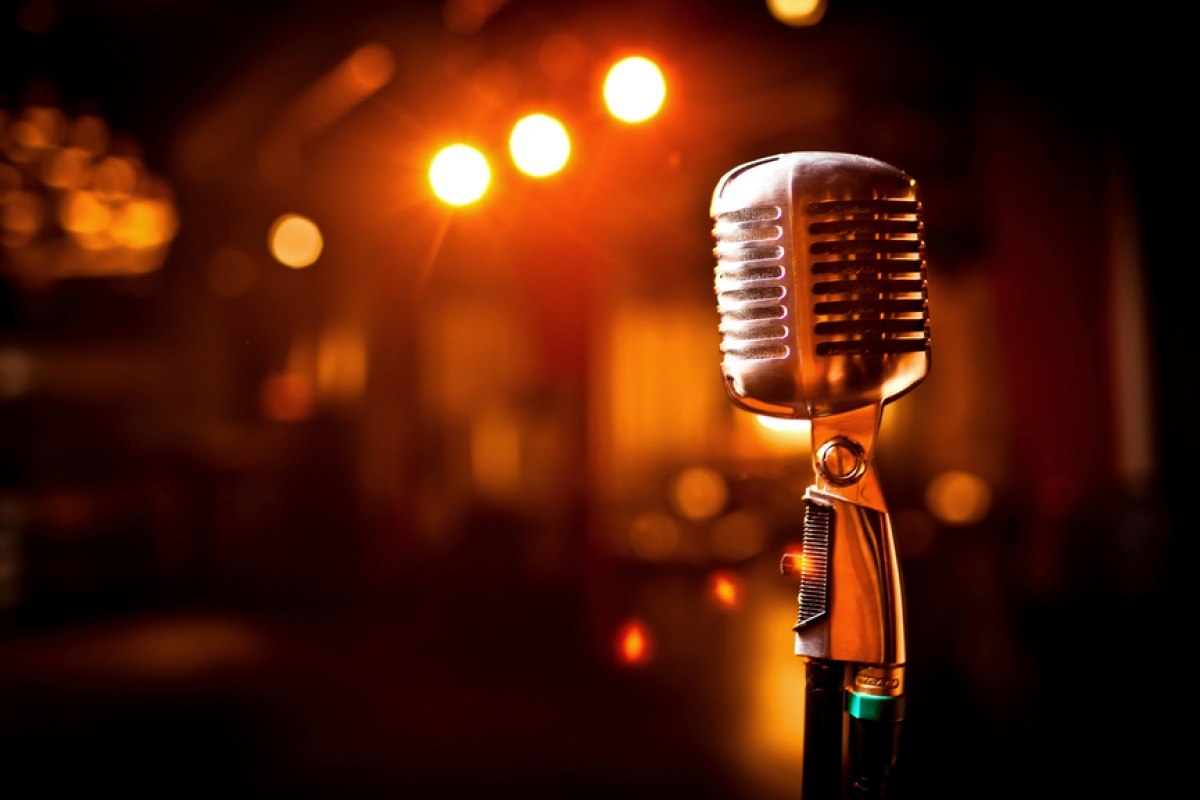 Retro microphone on stage old school new music mic