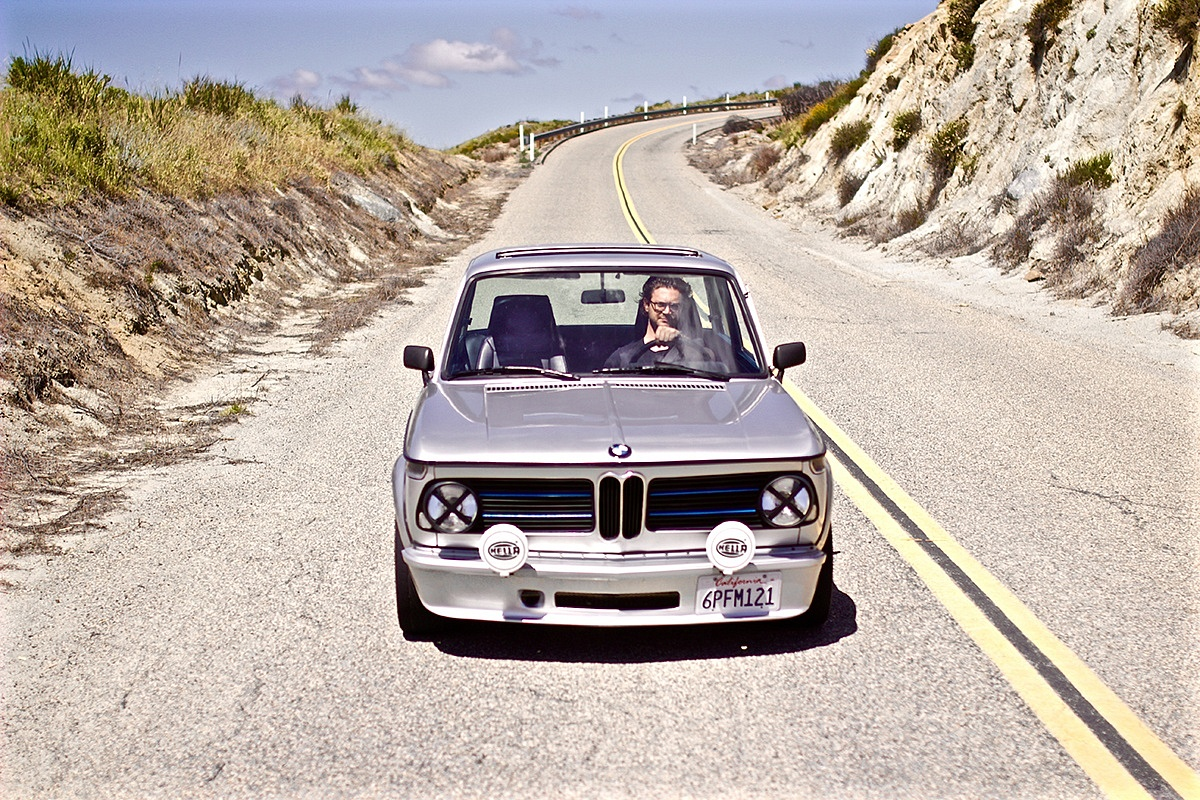 Silver 1970 BMW 2002 Front Driving The Dog End of Driving