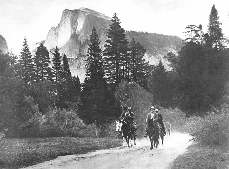 John Muir and Theodore Roosevelt on horseback in Yosemite Valley