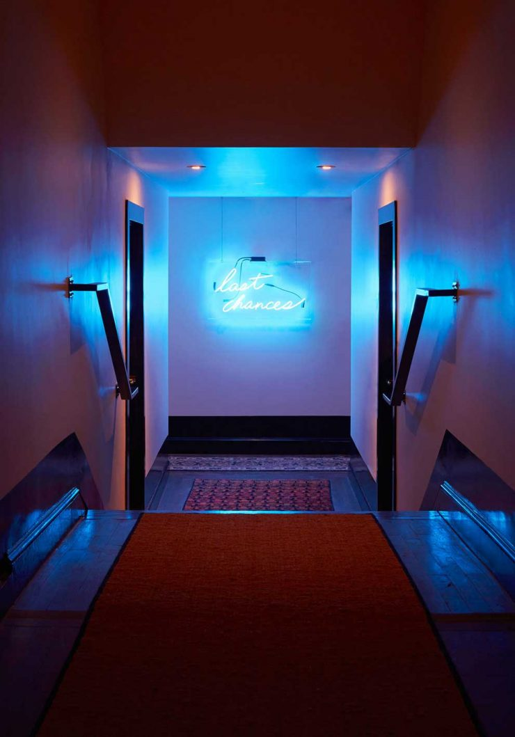 Neon sign in the hallway of The Dean Hotel in Providence
