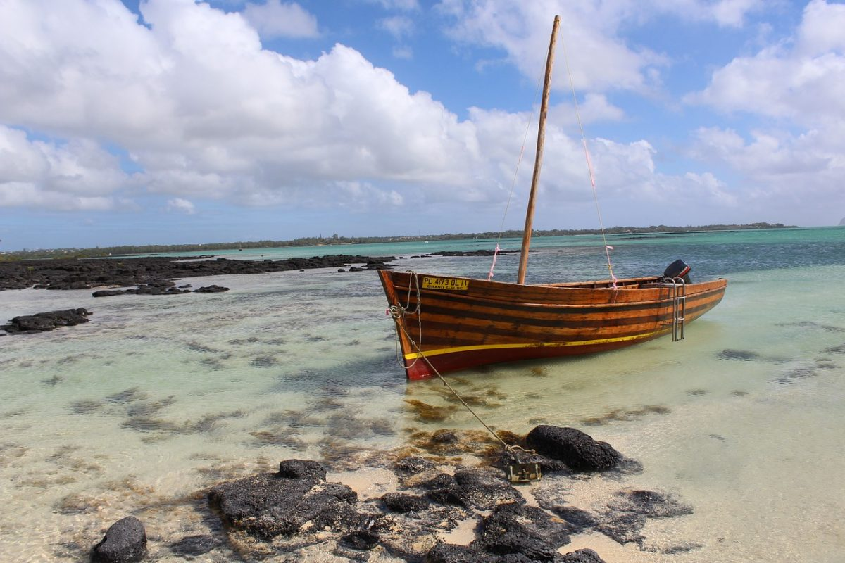 Wooden Boat on the Shore in Mauritius