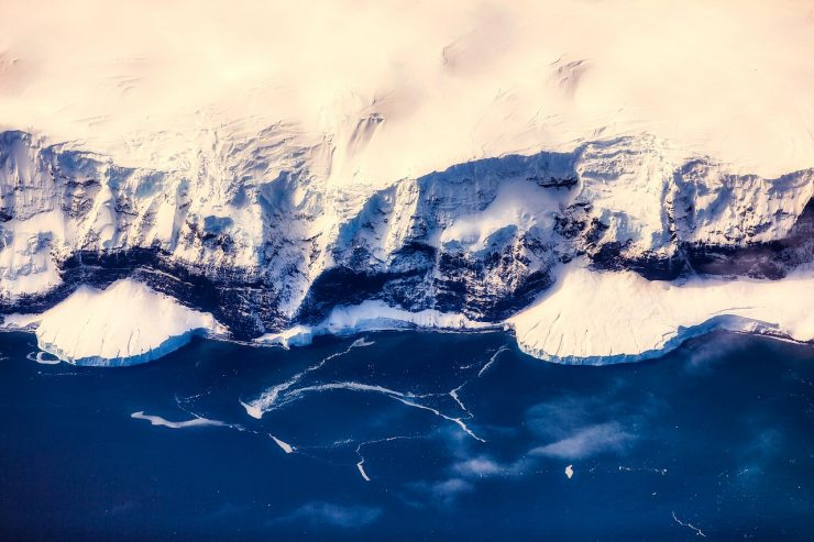 Glaciers and mountains of Antarctica from overhead
