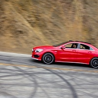 Red 2014 Mercedes CLA AMG Mulholland Highway