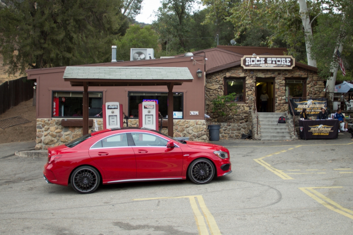 Red 2014 Mercedes CLA AMG Mulholland Highway Rock Store Los Angeles
