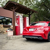 Red 2014 Mercedes CLA AMG Mulholland Highway Rear Rock Store
