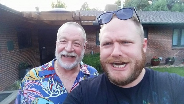 The beard runs in the family. As does the goofiness.