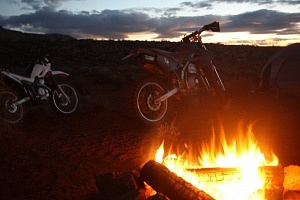 Overland Motorcycling Southern Utah FIre