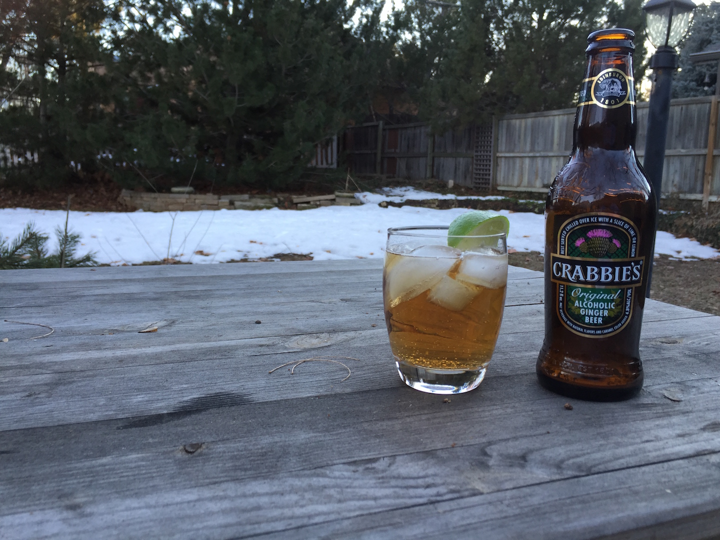 Crabbie's Original ginger beer glass bottle ice