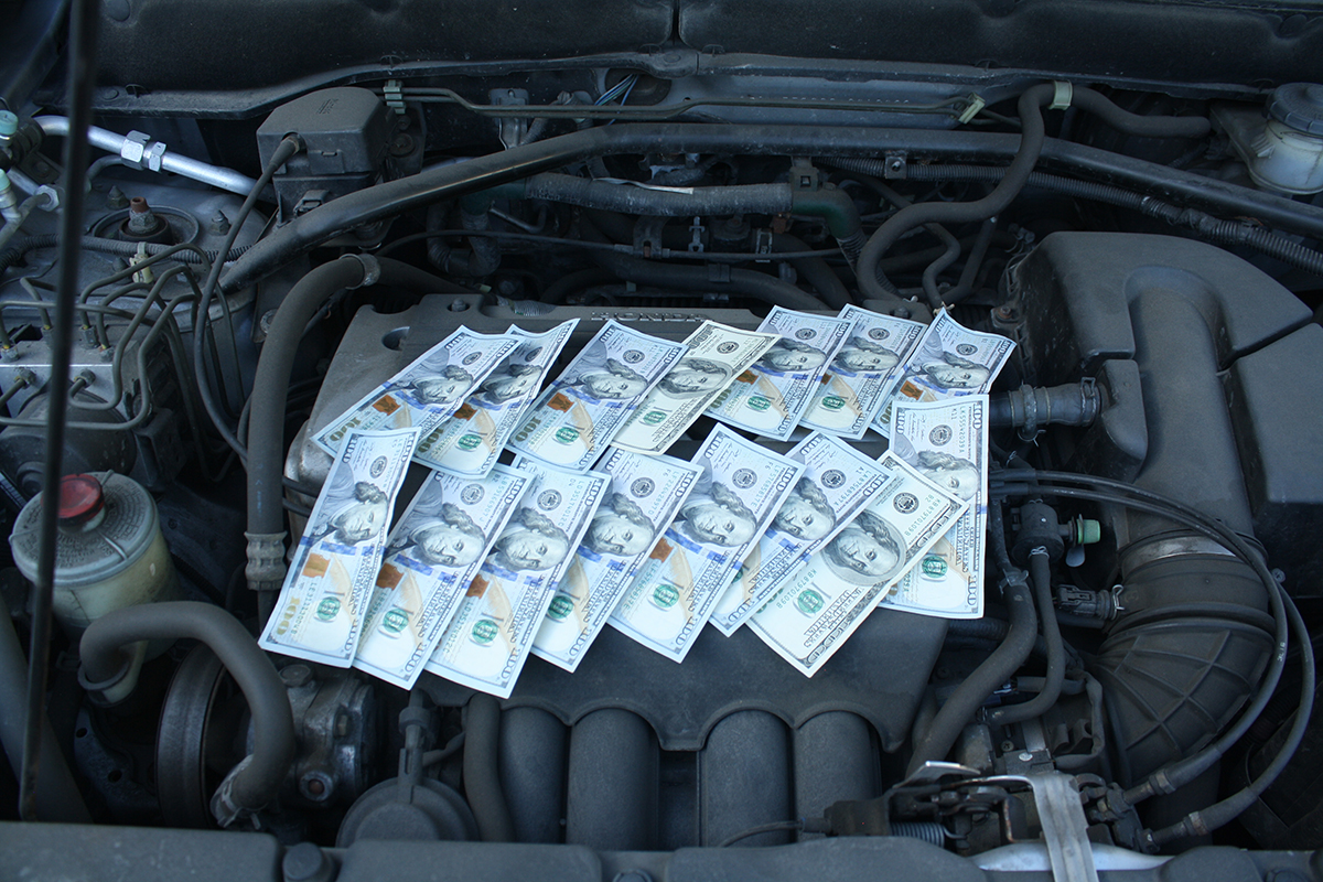 money on car engine