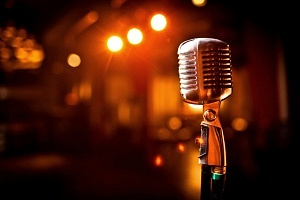 Local Bands Retro microphone on stage old school new music mic