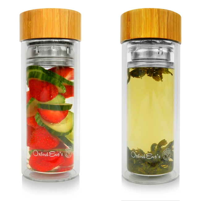 Oxford Eve's Tea Infuser Glass Tumbler with Bamboo Lid