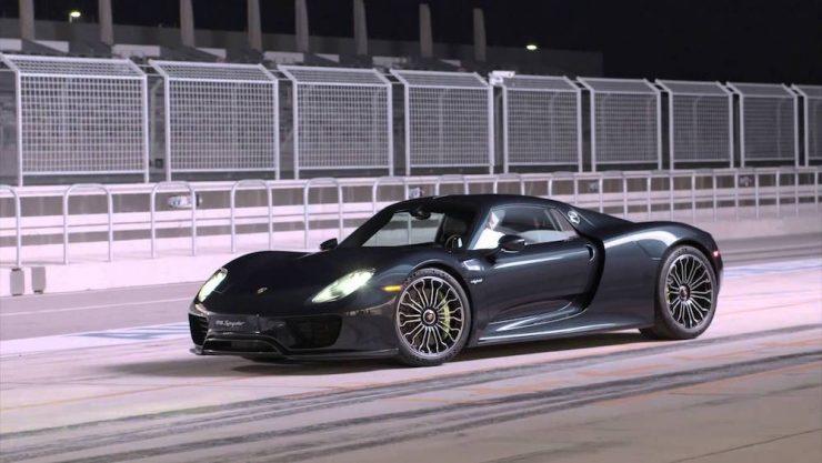 Porsche 918 on test track.