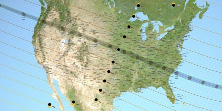 Map of the 2017 Total Solar Eclipse