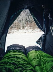 Sleeping bags in a tent in winter