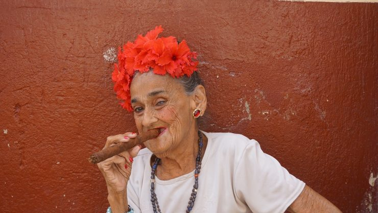 Old Woman Smoking a Cigar on the Streets of Havana