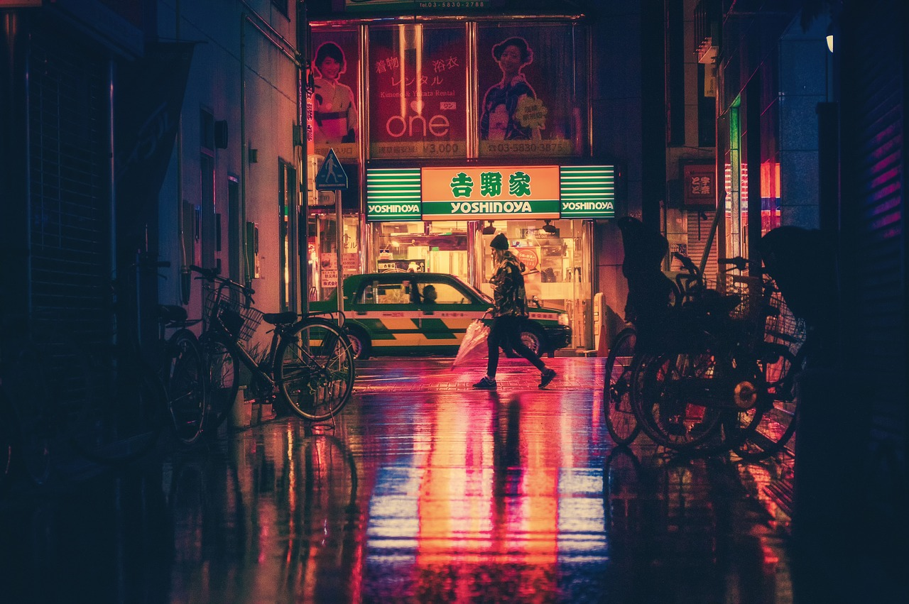 Woman walking the streets of Osaka, Japan