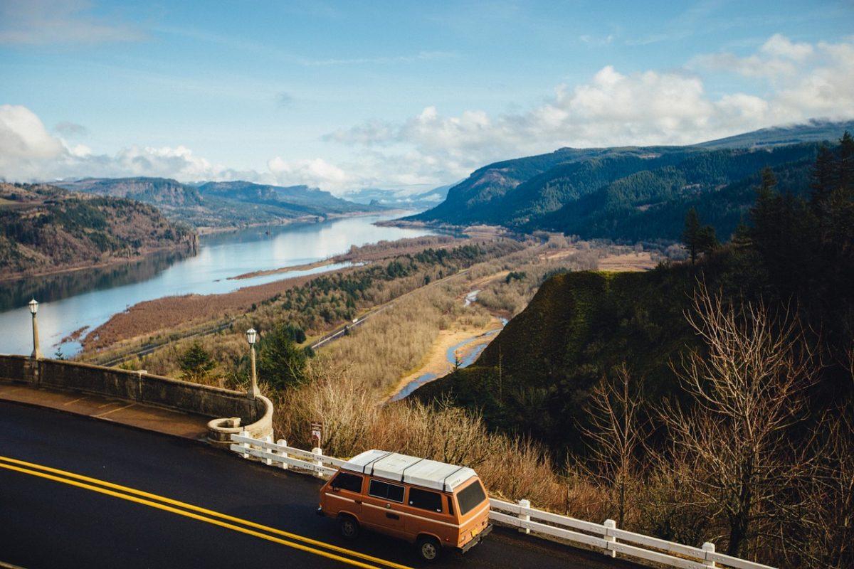 Van traveling on a remote highway