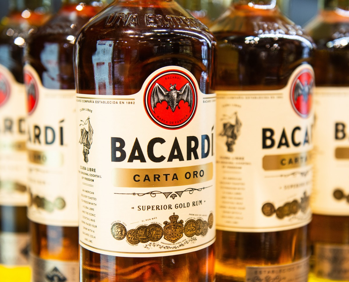 Bacardi Carta Oro superior gold rum bottles