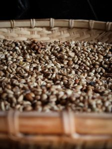 types of coffee beans on brown woven basket