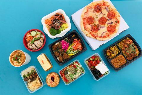 Eating Healthier pizza on white ceramic plates