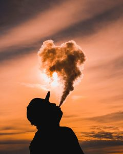 Disposable Vapes silhouette of man vaping during sunset