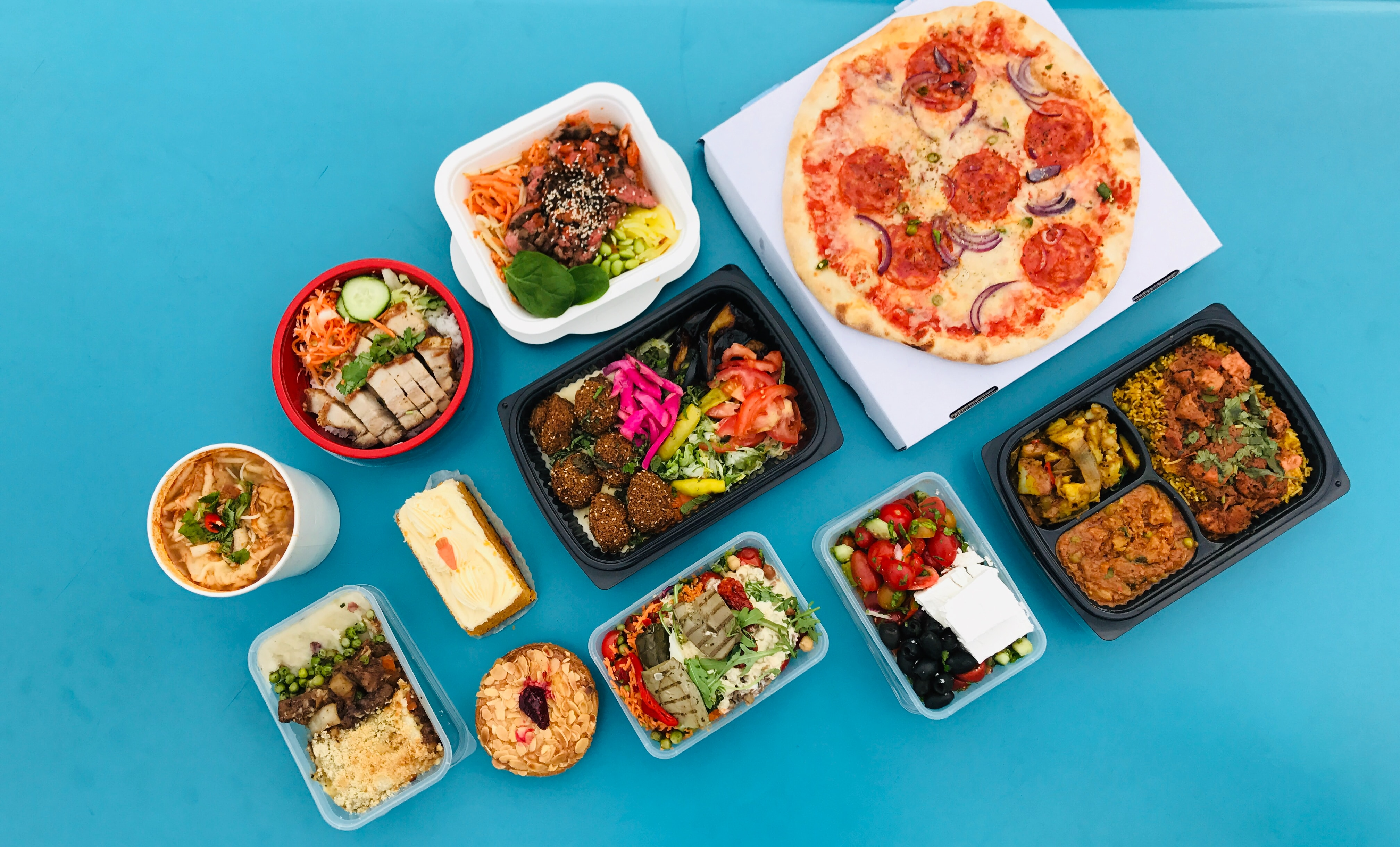 Healthy Meals pizza on white ceramic plates