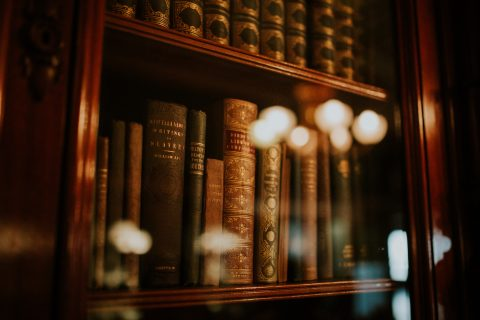Home Lighting Immigration Lawyer books in glass bookcase
