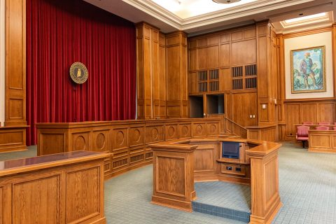 Legal Bot Personal Injury Claim Recover Damages architectural photography of trial court interior view