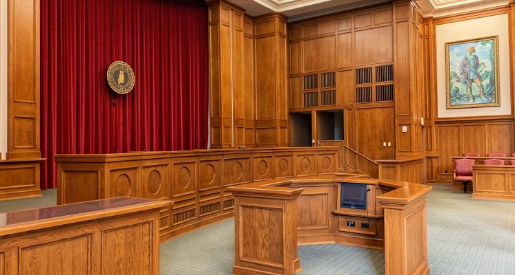 Recover Damages architectural photography of trial court interior view