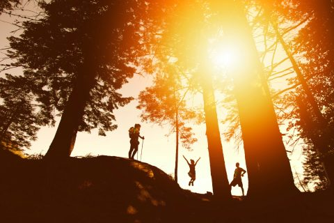 Family Vacation Exercising outdoors Clean Air Fit Lifestyle silhouette photo of three person near tall trees