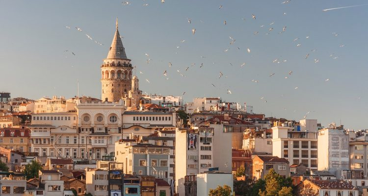 Next Vacation Trip Abroad Turkey aerial view of buildings and flying birds
