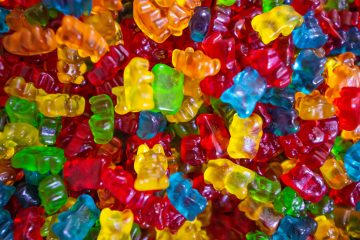 CBD Oil Gummies yellow green and red plastic beads